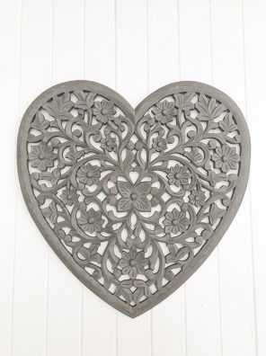 102- RH Heart Carved Panel Dark Grey