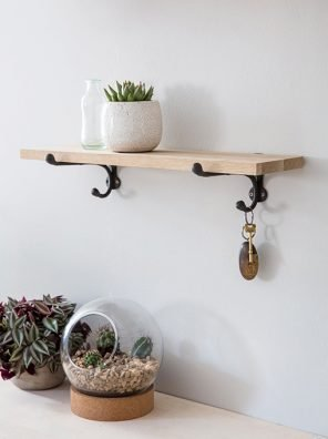 78-GT Oak & Cast Iron Shelf